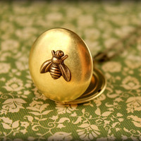 Brass Bee Locket Necklace