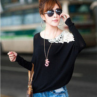 Cute Korean Style Fashion Lace One Shoulder Long Sleeve dress 2 Colors