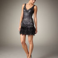 Sue Wong Beaded Feather-Hem Dress - Neiman Marcus