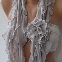NEW Elegant Scarf  Gorgeous  Accessories....It made with good quality chiffon fabric 2013.... grey and creamy.