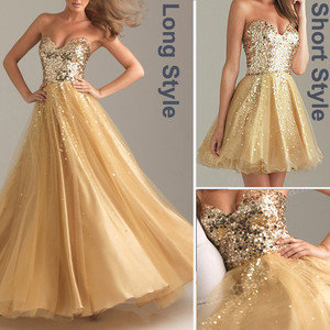 Gold Cocktail Dress on Gold Evening Formal Prom Ball Gown Party Long Short Cocktail