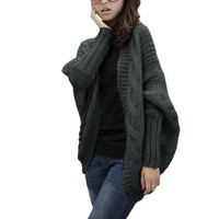 Allegra K Women Fashion Design Chunky Knit Loose Fall Sweater Coat Dark Gray S