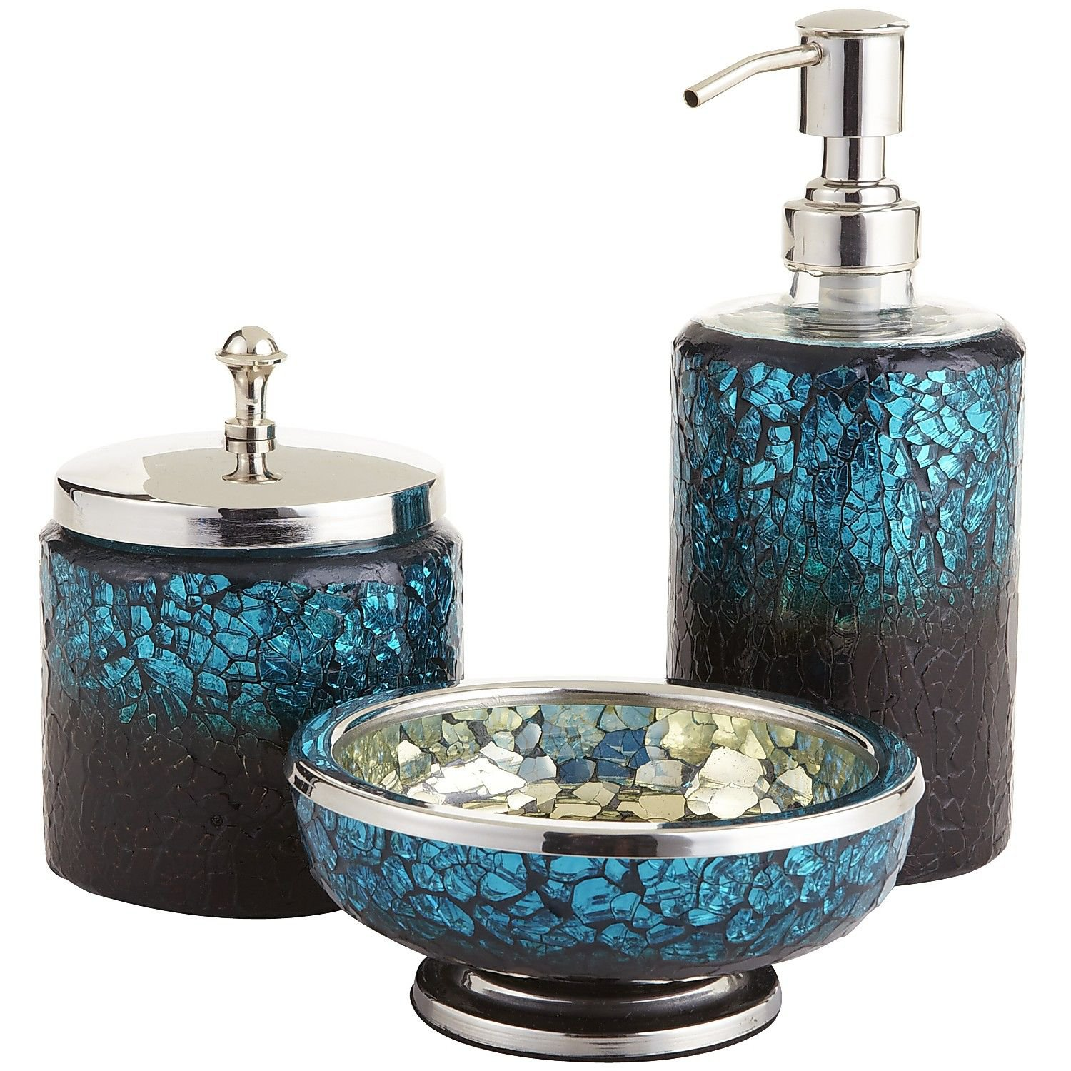 Peacock mosaic bath accessories from pier 1 imports for the for Blue glass bath accessories