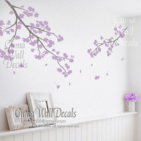 lilac cherry blossom wall decals vinyl floral wall sticker tree nursery wall mural children-girl nursery cherry blossom Z119  cuma