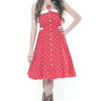 Heartbreaker 50's Style Red Ketchup Peggy Sue Sundress - Unique Vintage - Cocktail, Evening & Pinup Dresses