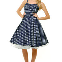 Navy & White Polka Dot Ruched Swing Dress - Unique Vintage - Cocktail, Evening & Pinup Dresses