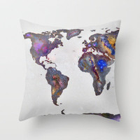 Stars world map Throw Pillow by Guido Montañés | Society6