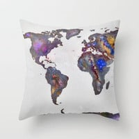 Stars world map Throw Pillow by Guido Montas | Society6