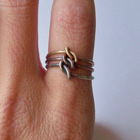 Stacking Rings - Sterling Silver Copper Brass - 3 Mixed Metal Stacking Rings