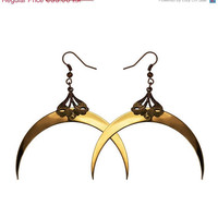 ON SALE  15 OFF  Gold Crescent Luna Earrings  by HaremRoyal