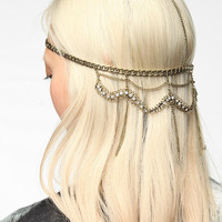 Draped Rhinestone Goddess Chain Headwrap