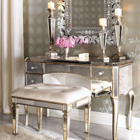 &quot;Claudia&quot; Mirrored Vanity &amp; Vanity Seat - Horchow