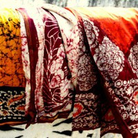 Used Sari bundle Batik Silk Sarees Ethnic Prints for Fiber Art