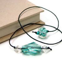 Book Thong Bookmark, Beaded, Book Cord, Book String, Gift under 5, Light Teal Green, TJBdesigns, Direct Checkout