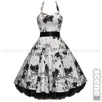 WHITE FLORAL PIN-UP ROCKABILLY VTG PROM DRESS SZ 8-18 - Girls