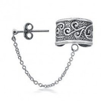 Bling Jewelry Oxidized Celtic Swirls Tribal Ear Cuff One Piece 925 Sterling Silver