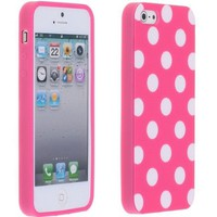 Magenta Pink and White Polka Dot Gloss Flex Gel Case For the NEW Apple iPhone 5 (AT&T, Verizon, Spr