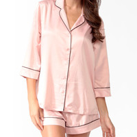 Contrast Satin PJ Set