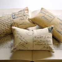 3 French postcard mini pillows by lisawinestudios on Etsy