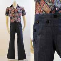 70s Jeans Vintage Men's Unworn Sailor Style Button Front Denim Dungaree Pants 36 30 NOS