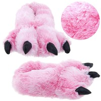 Wishpets Pink Fuzzy Tiger Paw Animal Slippers for Women and Men Medium