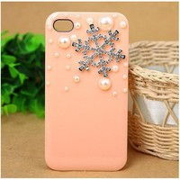 3D Crystal Christmas Snow Snowflake Hard Back Case Cover Pearls for iPhone 4/4s