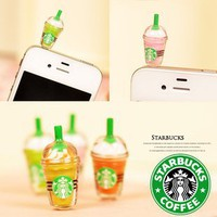 6 pcs (whole set) StarBucks Frappuccino, Milk Cell Phone Charm 3.5mm Anti Dust Earphone Jack Plug i