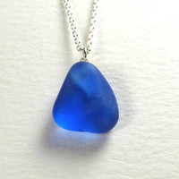 Rare Cobalt Blue English Sea Glass Necklace