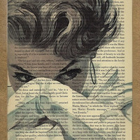 Fifties Vintage Book Page Print The Woman In White by arwdesign