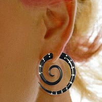 Tribal Earrings  Large Black Horn Spiral w by PrimalOriginals