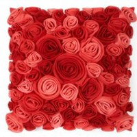 One Kings Lane - Pillows We Love - Debage Felt All-over Flower Pillow, Red