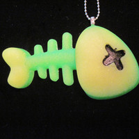 Toxic Neon Glitter Skelefish Necklace