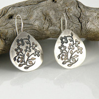Floral Silver Earrings, Miniature Flowers Sterling Silver Earrings, Etched and Oxidized Earrings, Tiny Flowers Earrings, Medium