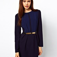ASOS Tulip Dress with Metal Belt at asos.com