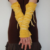 Arm Warmers Upcycled Woman's Clothing Funky Wrapped by cutrag