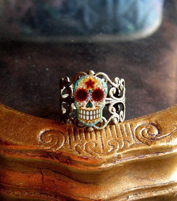 Antiqued Day of the Dead Filigree Sugar Skull by theringleader