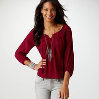 AE Draped Back Blouse | American Eagle Outfitters
