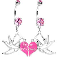 Broken Heart Sparrow Birds Best Friends Belly Ring Set