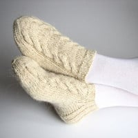 Hand Knitted Women's Short Socks - 100% Natural Unbleached Hand-spun Wool Yarn