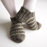 Striped Hand Knitted Short / Ankle Socks - 100% Natural Organic Wool