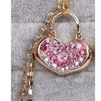 Lovely Bling Crystal Heart Lock 3.5mm anti dust antidust ear cap for iphone, HTC, Samsung
