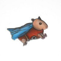 Fridge, Refrigerator Animal Magnet, Hamster, Superhero, Super Hero, Geek, Cute, Kawaii, Shrinky Dinks, Shrink Plastic, Cape, Blue, Red