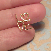 Love Earrings with Heart, Pair, Sterling Silver, ready to ship