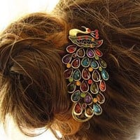 Lovely Vintage Jewelry Crystal Peacock Hair Clip