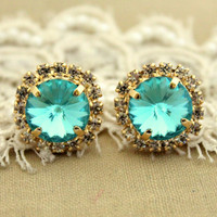 Crystal stud big Aqua blue earring - 14k plated gold post earrings real swarovski rhinestones .