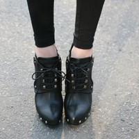 Girls Black Rivets Drawstring High Heeled Pumps  : Wholesaleclothing4u.com