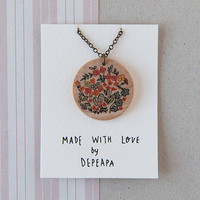 Liberty flowers - illustrated wooden necklace