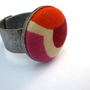Orange Pink Red Button Ring Modern Geometric by SundayRookery