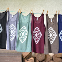 Tank Top - Dark Gray with White Diamond - Sizes XS, S