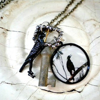Crow Necklace Halloween Raven Vulture by by FleaMarketGal on Etsy